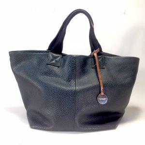 Pulicati Black Pebbled Leather Tote Shoulder Bag